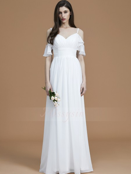A-Line/Princess Sleeveless Ruffles Floor-Length Chiffon Spaghetti Straps Bridesmaid Dresses