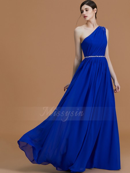 A-Line/Princess Sleeveless Beading Floor-Length Chiffon One-Shoulder Bridesmaid Dresses