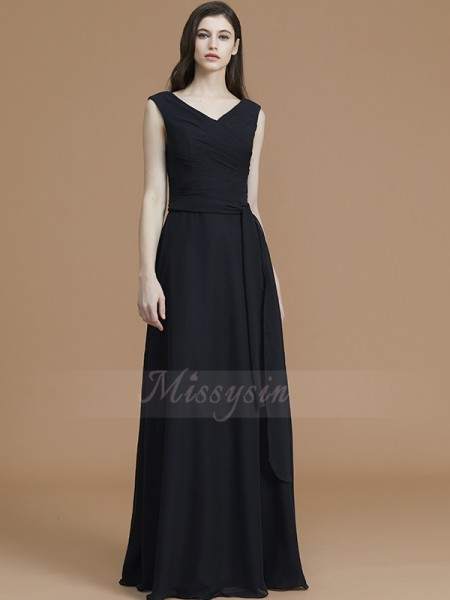 A-Line/Princess Sleeveless Sash/Ribbon/Belt Floor-Length Chiffon V-neck Bridesmaid Dresses