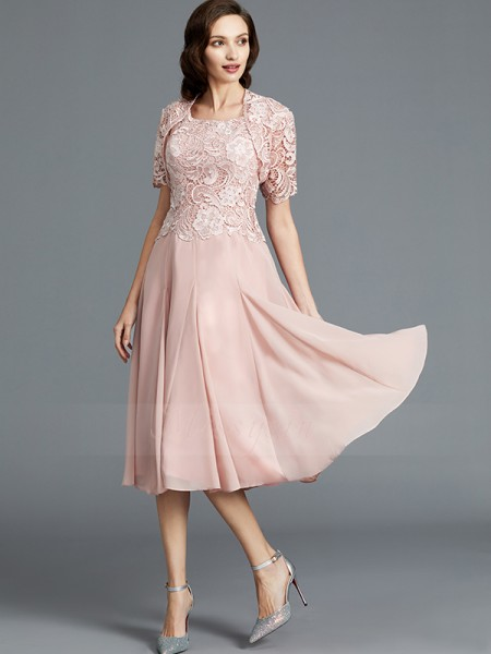 A-Line/Princess Tea-Length Scoop Chiffon Sleeveless Mother of the Bride Dresses