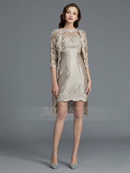 Sheath/Column Knee-Length Scoop Taffeta Sleeveless Mother of the Bride Dresses