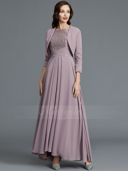A-Line/Princess Asymmetrical Scoop Chiffon 1/2 Sleeves Mother of the Bride Dresses