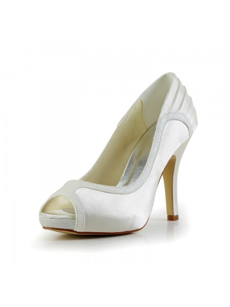 Women's Amazing Satin Stiletto Heel Ivory Wedding Shoes