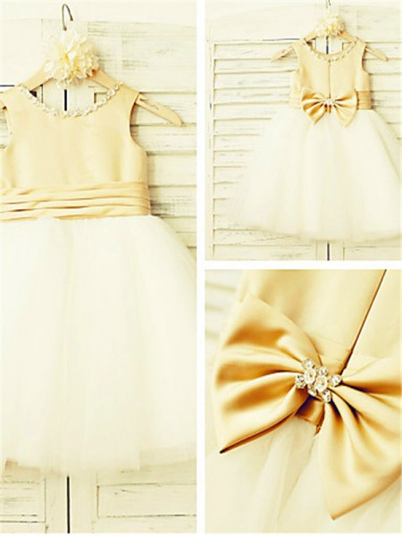 A-line/Princess Scoop Tea-Length Sleeveless Tulle Bowknot Flower Girl Dresses