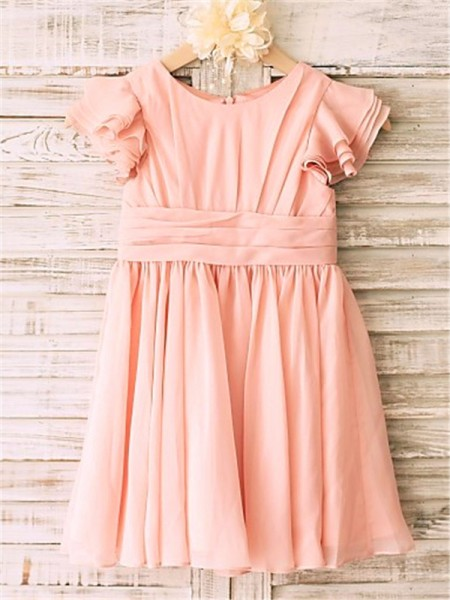 A-line/Princess Scoop Tea-Length Short Sleeves Chiffon Flower Girl Dresses