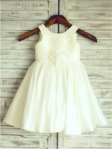 A-line/Princess Scoop Tea-Length Sleeveless Chiffon Hand-Made Flower Flower Girl Dresses