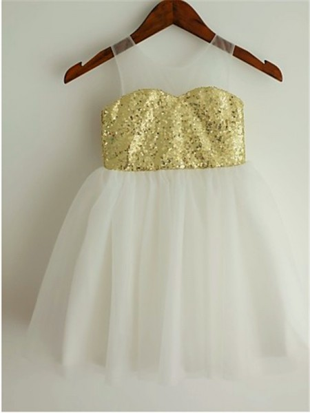 A-line/Princess Scoop Tea-Length Sleeveless Tulle Sequin Flower Girl Dresses