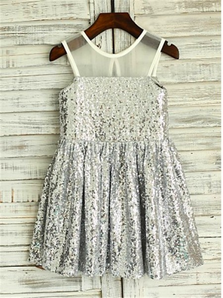 A-line/Princess Scoop Tea-Length Sleeveless Sequins Sequin Flower Girl Dresses