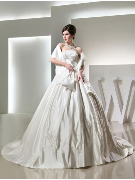 Ball Gown Sleeveless Strapless Satin Beading,Embroidery Chapel Train Wedding Dresses