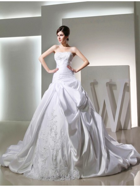Ball Gown Sleeveless Strapless Satin Beading,Applique Chapel Train Wedding Dresses