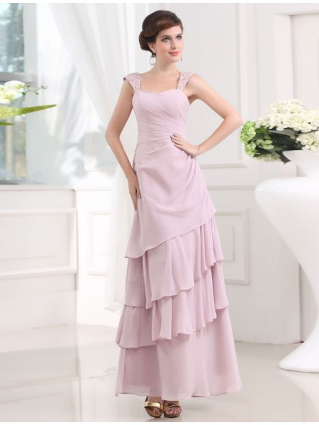 A-Line/Princess Sleeveless Straps Chiffon Beading,Layers Ankle-Length Dresses