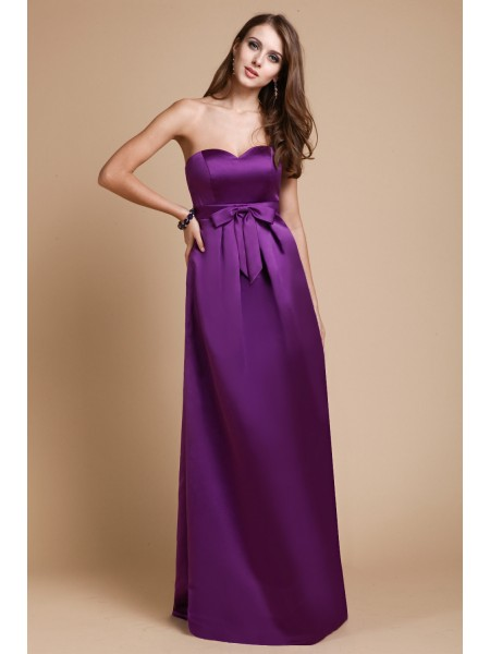 Sheath/Column Sleeveless Sweetheart Elastic Woven Satin Bowknot Floor-Length Bridesmaid Dresses