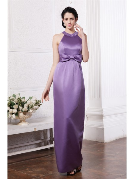Sheath/Column Sleeveless Scoop Elastic Woven Satin Beading,Bowknot Floor-Length Bridesmaid Dresses