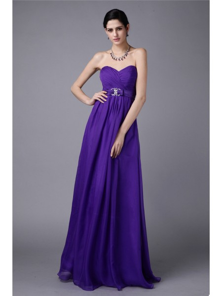 A-Line/Princess Sleeveless Sweetheart Chiffon Pleats,Beading Floor-Length Bridesmaid Dresses