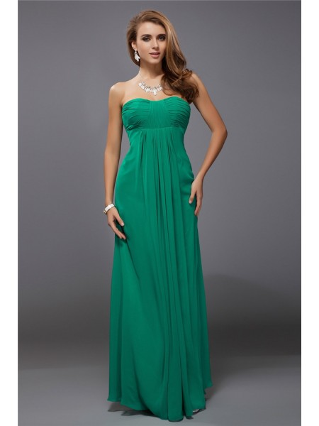 Sheath/Column Sleeveless Strapless Chiffon Ruffles Floor-Length Bridesmaid Dresses