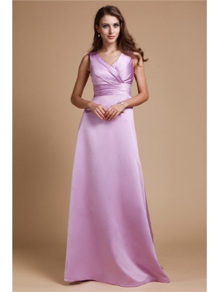 A-Line/Princess Sleeveless V-neck Elastic Woven Satin Ruched Floor-Length Bridesmaid Dresses