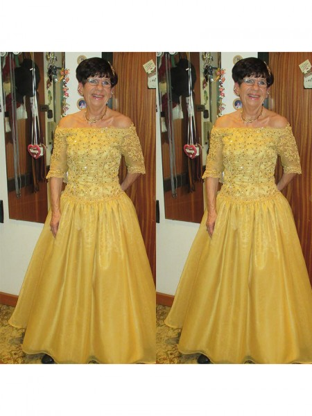 A-Line/Princess 1/2 Sleeves Off-the-Shoulder Tulle Beading Floor-Length Mother of the Bride Dresses