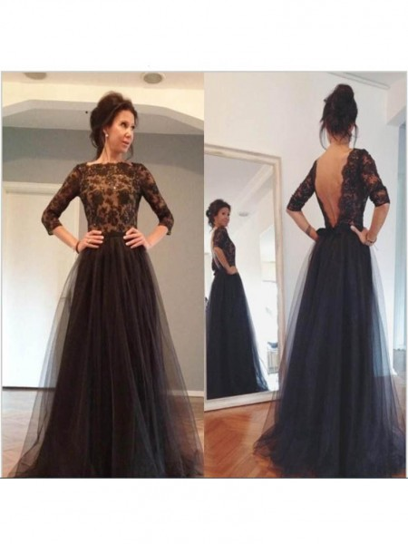 A-Line/Princess 3/4 Sleeves Bateau Tulle Lace Sweep/Brush Train Mother of the Bride Dresses