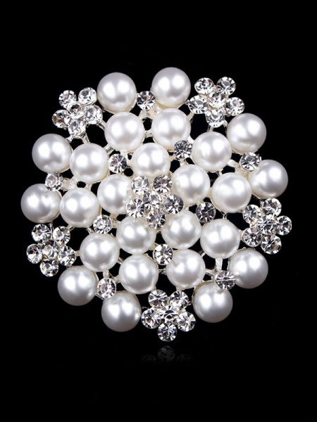 Attractive Alloy With Rhinestone/Imitation Pearl Womens Brooch