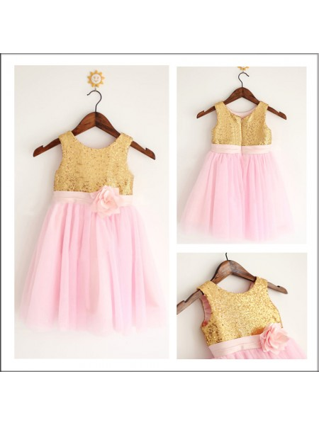 A-Line/Princess Sleeveless Scoop Tulle Sequin Tea-Length Flower Girl Dresses