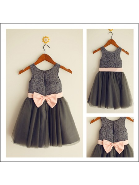 A-Line/Princess Sleeveless Scoop Tulle Bowknot Tea-Length Flower Girl Dresses