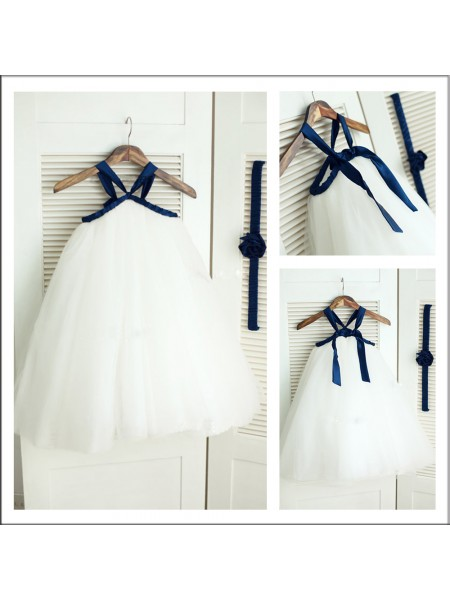 A-Line/Princess Sleeveless Spaghetti Straps Tulle Tea-Length Flower Girl Dresses