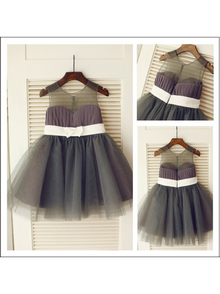 A-Line/Princess Sleeveless Scoop Tulle Sash/Ribbon/Belt Knee-length Flower Girl Dresses