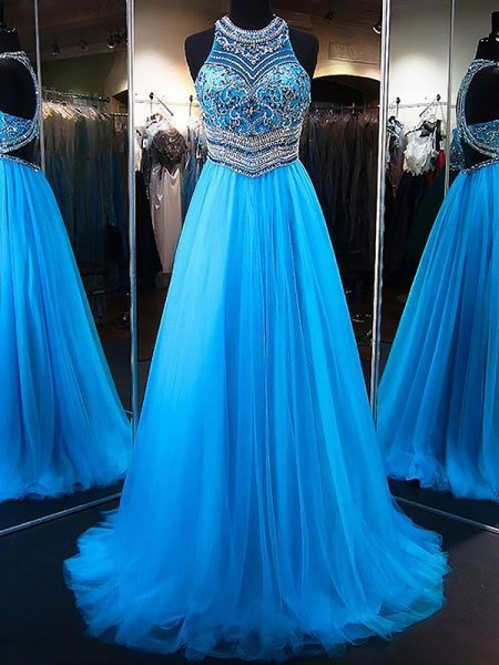 A-Line/Princess Jewel Tulle Beading Sweep/Brush Train Sleeveless Dresses
