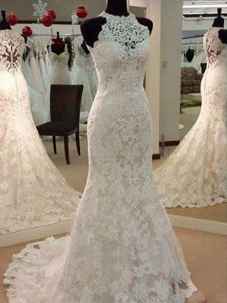 Sheath/Column Scoop Sweep/Brush Train Sleeveless Applique Lace Wedding Dresses