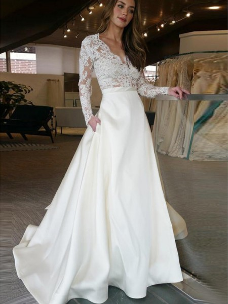 A-Line/Princess V-neck Sweep/Brush Train Long Sleeves Applique Satin Wedding Dresses