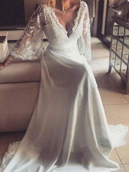 A-Line/Princess V-neck Court Train Long Sleeves Sash/Ribbon/Belt Lace Wedding Dresses