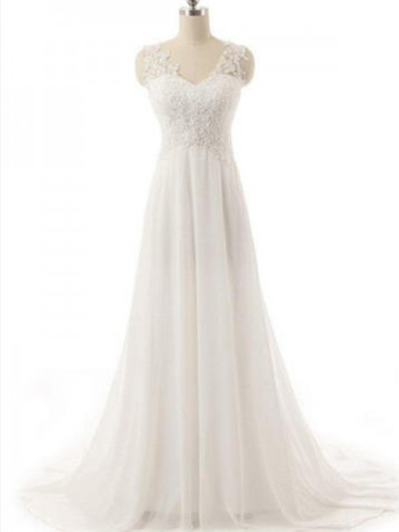 A-Line/Princess V-neck Sweep/Brush Train Sleeveless Chiffon Wedding Dresses
