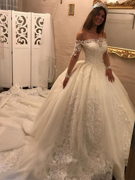 Ball Gown Off-the-Shoulder Cathedral Train Long Sleeves Applique Tulle Wedding Dresses