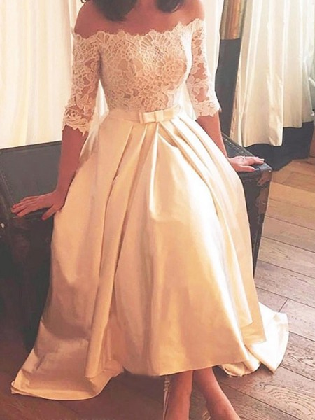 A-Line/Princess Off-the-Shoulder Asymmetrical 1/2 Sleeves Satin Wedding Dresses
