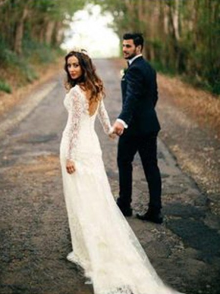 Sheath/Column V-neck Court Train Long Sleeves Applique Lace Wedding Dresses