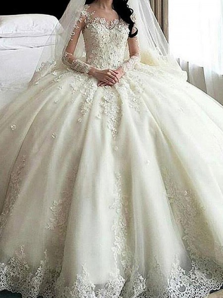 Ball Gown Scoop Cathedral Train Long Sleeves Applique Tulle Wedding Dresses