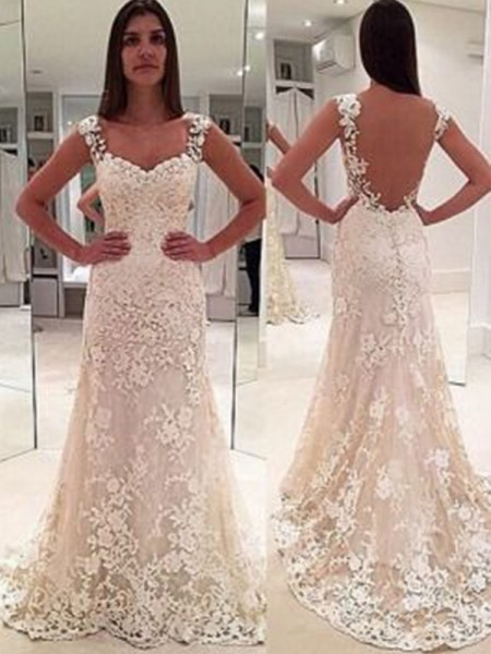 Sheath/Column Sweetheart Court Train Sleeveless Applique Lace Wedding Dresses