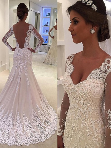 Trumpet/Mermaid V-neck Court Train Long Sleeves Lace Wedding Dresses
