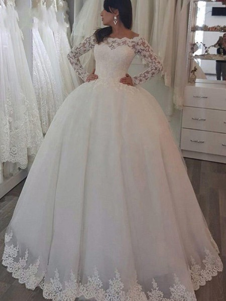 Ball Gown Off-the-Shoulder Sweep/Brush Train Long Sleeves Applique Lace Wedding Dresses