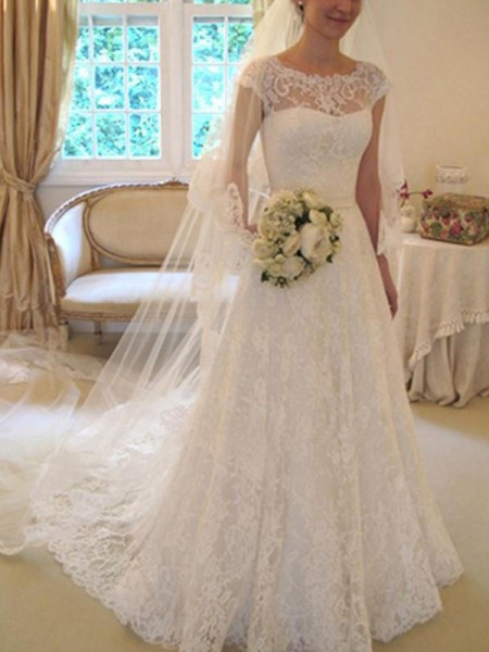 A-Line/Princess Square Court Train Short Sleeves Applique Lace Wedding Dresses