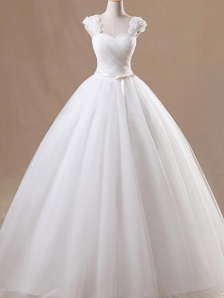 Ball Gown Square Floor-Length Sleeveless Ruffles Tulle Wedding Dresses
