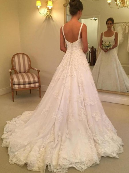 A-Line/Princess Square Court Train Sleeveless Applique Lace Wedding Dresses
