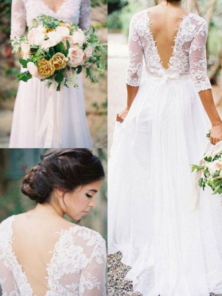 A-Line/Princess V-neck Floor-Length 1/2 Sleeves Applique Chiffon Wedding Dresses