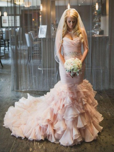 Trumpet/Mermaid Sweetheart Court Train Sleeveless Ruffles Organza Wedding Dresses