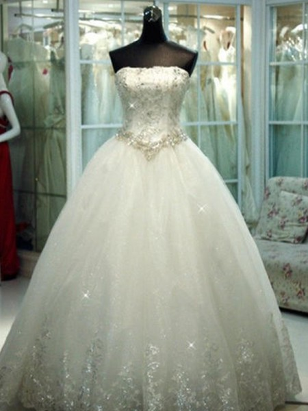 Ball Gown Strapless Floor-Length Sleeveless Beading Tulle Wedding Dresses