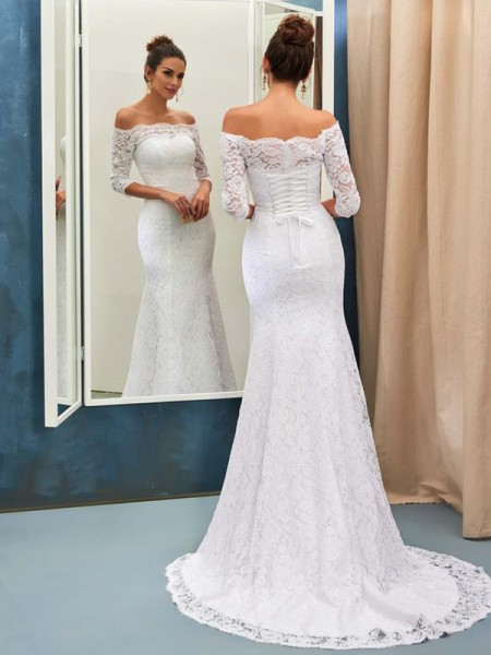 Trumpet/Mermaid Off-the-Shoulder Sweep/Brush Train 1/2 Sleeves Lace Wedding Dresses