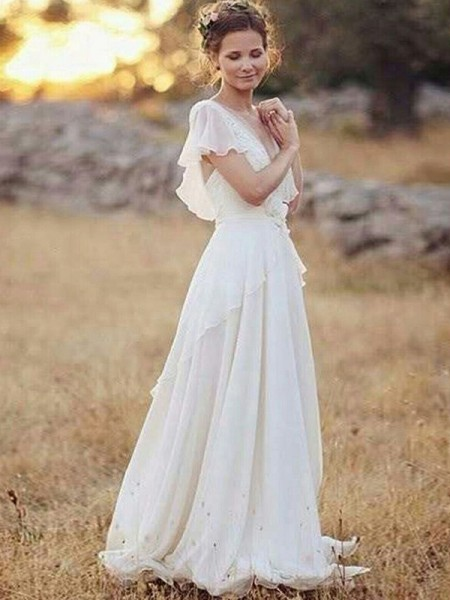 A-Line/Princess V-neck Floor-Length Short Sleeves Ruched Chiffon Wedding Dresses