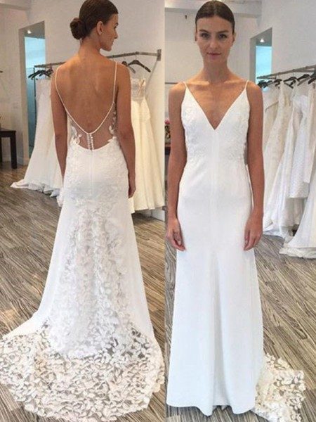 Sheath/Column Spaghetti Straps Sweep/Brush Train Sleeveless Satin Wedding Dresses