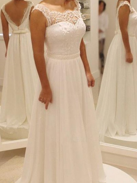 A-Line/Princess Scoop Sweep/Brush Train Sleeveless Chiffon Wedding Dresses