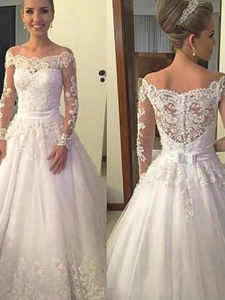 Ball Gown Off-the-Shoulder Court Train Long Sleeves Applique Tulle Wedding Dresses